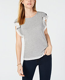 Maison Jules Layered-Look Flutter-Sleeve Top, Created for Macy's