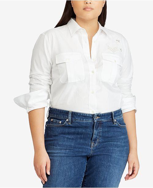 22d8d71520d24 Lauren Ralph Lauren Plus Size Cotton Shirt - Tops - Plus Sizes - Macy s