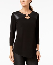 JM Collection Petite Faux-Leather Yoke Tunic Top