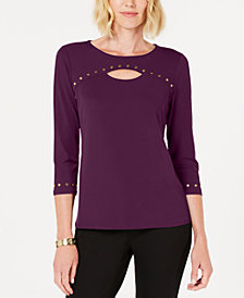 JM Collection Studded Keyhole Top, Created for Macy's