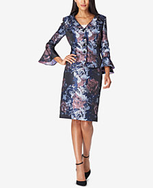 Tahari ASL Floral-Jacquard Portrait Skirt Suit