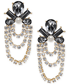 I.N.C. Gold-Tone Crystal, Stone & Imitation Pearl Chandelier Earrings, Created for Macy's