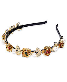 I.N.C. Gold-Tone Multi-Stone & Imitation Pearl Flower Satin-Wrapped Headband, Created for Macy's