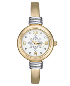 Charter Club Holiday Lane Women's Two-Tone Cuff Bracelet Watch 25mm, Created for Macy's