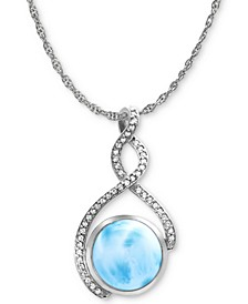 "Larimar & White Sapphire (1/4 ct. t.w.) 21"" Pendant Necklace in Sterling Silver"