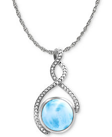 "Marahlago Larimar & White Sapphire (1/4 ct. t.w.) 21"" Pendant Necklace in Sterling Silver"