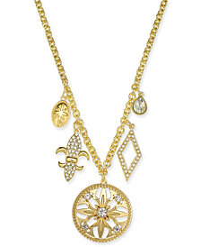 "Charter Club Gold-Tone Crystal Charm Pendant Necklace, 32"" + 2"" extender, Created for Macy's"
