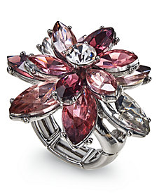 Charter Club Silver-Tone Crystal Flower Stretch Ring, Created for Macy's