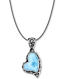 """Larimar Scrollwork Heart 21"""" Pendant Necklace in Sterling Silver"""