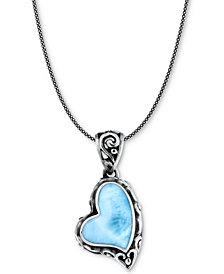 """Marahlago Larimar Scrollwork Heart 21"""" Pendant Necklace in Sterling Silver"""