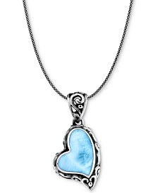 "Marahlago Larimar Scrollwork Heart 21"" Pendant Necklace in Sterling Silver"