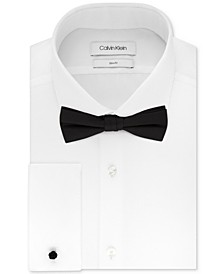 Men's Slim-Fit Solid French Cuff Dress Shirt & Pre-Tied Bow Tie Set