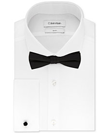 Calvin Klein Men's Slim-Fit Solid French Cuff Dress Shirt & Pre-Tied Bow Tie Set