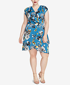 RACHEL Rachel Roy Trendy Plus Size Faux-Wrap Dress