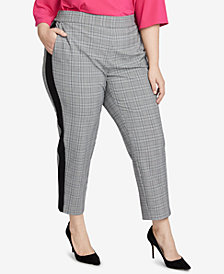 RACHEL Rachel Roy Trendy Plus Size Glen Plaid Slim-Leg Pant