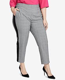 RACHEL Rachel Roy Trendy Plus Size Glen Plaid Slim-Leg Pant