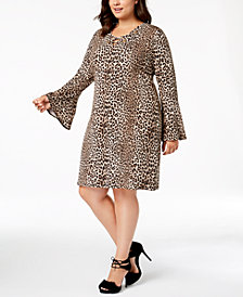 MICHAEL Michael Kors Plus Size Animal-Print Bell-Sleeve Dress