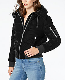BCBGeneration Velvet Hooded Bomber Coat