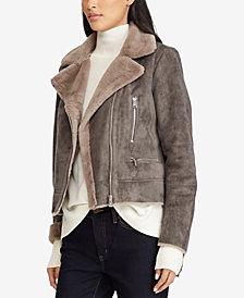 Lauren Ralph Lauren Asymmetrical Faux-Shearling Moto Jacket