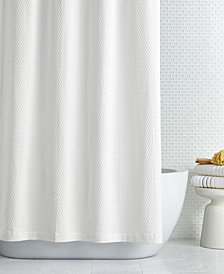 "CLOSEOUT! Hotel Collection Cotton Geo Matelassé 72"" x 72"" Shower Curtain, Created for Macy's"