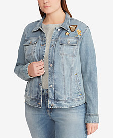 Lauren Ralph Lauren Plus Size Floral-Embroidered Denim Cotton Jacket