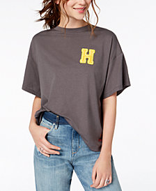 PEACE LOVE WORLD Oversized Happyville-Graphic T-Shirt