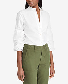 Lauren Ralph Lauren Petite Broadcloth Bishop-Sleeve Shirt
