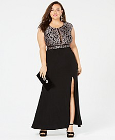 Trendy Plus Size Glitter Lace Dress