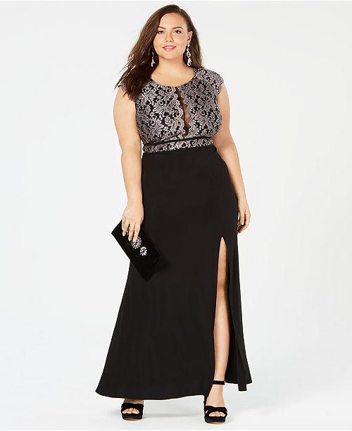 Trendy Plus Size Glitter Lace Dress