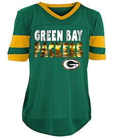 5th & Ocean Green Bay Packers Foil Football Jersey, Girls (4-16)