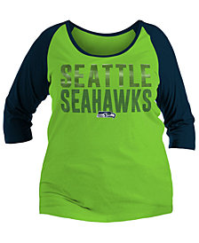 5th & Ocean Women's Seattle Seahawks Plus Size Colorblock Raglan T-Shirt