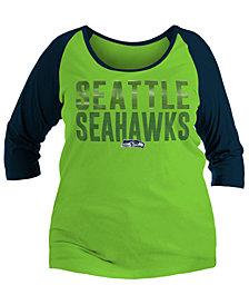 5th & Ocean Women's Seattle Seahawks Plus Size Colorblock Raglan T-Shirt
