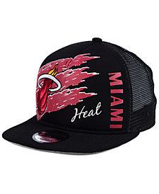 New Era Miami Heat Swipe Trucker 9FIFTY Snapback Cap