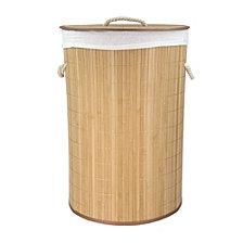 Home Basics Round Foldable Bamboo Hamper