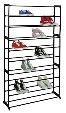 50 Pair Metal and Plastic Shoe Rack, Black