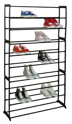 Sunbeam 50 Pair Metal and Plastic Shoe Rack, Black