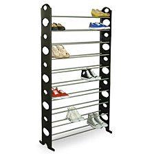 50 Pair Metal Shoe Rack, Black