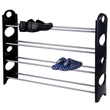 Home Basics 20 Pair  Metal and Plastic Shoe Rack