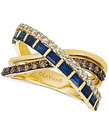 Sapphire (1 ct. t.w.) & Diamond (3/4 ct. t.w.) Crisscross Ring in 14k Gold