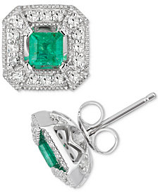 Emerald (1/2 ct. t.w.) & Diamond (1/4 ct. t.w.) Stud Earrings in 10k White Gold