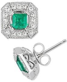 Emerald (1/2 ct. t.w.) & Diamond (1/4 ct. t.w.) Stud Earrings in 10k White Gold