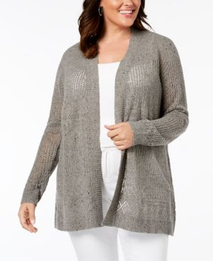 BELLDINI Belle By Belldini Plus Size Pointelle-Stitch Cardigan in Charcoal Combo