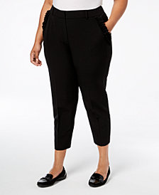 NY Collection Plus & Petite Plus Size Ruffled-Pocket Pants