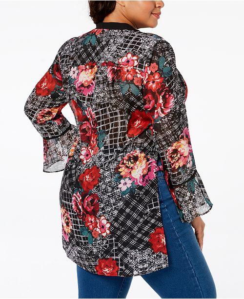 Spring Sleeve Chiffon Black NY Bell Plus Size Collection Tunic gqFwzO