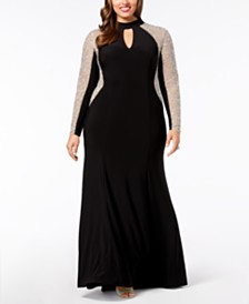 XSCAPE Plus Size Beaded Choker Gown