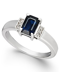 Sapphire (1-1/6 ct. t.w.) & Diamond Accent Ring in 14k White Gold