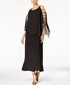 MSK Embellished Lattice-Sleeve Gown