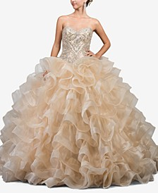 Juniors' Embellished Ruffled Ballgown
