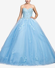 Juniors' Bejeweled Corset Gown