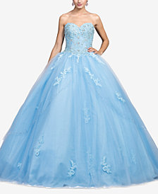 Dancing Queen Juniors' Bejeweled Corset Gown